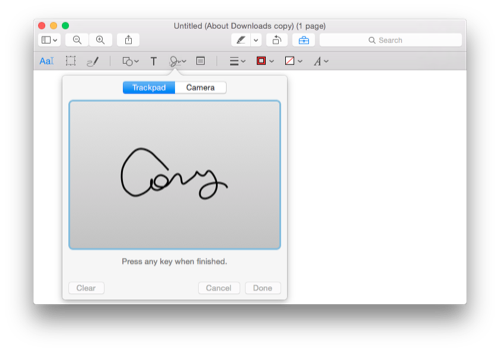 Signing PDF's with a trackpad