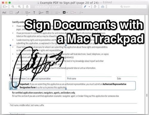 Sign Documents with your Trackpad using Preview – OSXDaily